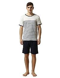 79340af736 Suntasty Men s Summer Sleepwear Lounge Set Short Sleeve Pajamas Shorts with  Top