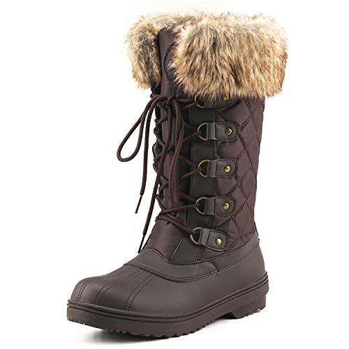 Shenda Women's Mid-Calf Nylon Fabric Snow Boots E7630 Chocolate ()