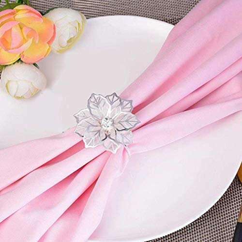 10pcs Exquisite Hollow Flower Napkin Rings Holder for Banquet Dinner Wedding Receptions Family Table Decoration