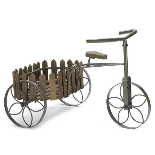 Whimsical Metal and Wood Tricycle Plant Stand Planter Garden Home or Patio Decor
