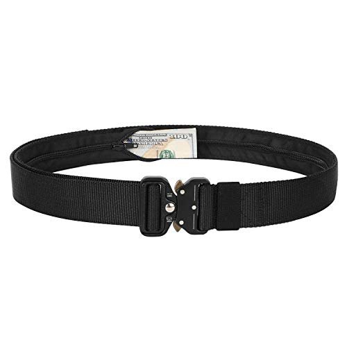Mens Tactical Belt SANSTHS Heavy Duty Nylon Belt 1.5in Riggers Belt Military Webbing with Quick Release Metal Buckle, Black S (Best Places To Hide Money)