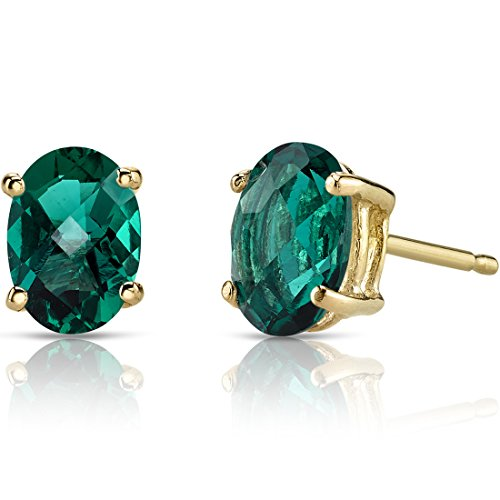 14K Yellow Gold Oval Shape 1.50 Carats Created Emerald Stud Earrings