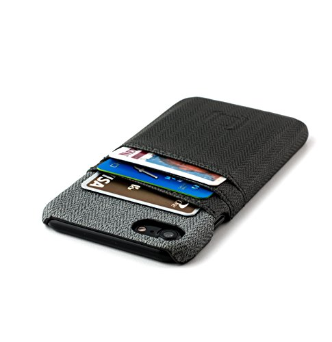 Étui iPhone 7 Cartes avec bloc RFID de Dockem- Étui Portefeuille minimaliste en cuir synthétique avec finitions en toile ; Étui Ultra fin, professionnel, chic, avec trois emplacements facilement acces