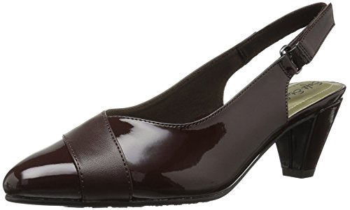 Soft Style by Hush Puppies Women's Dagmar Dress Pump, Dark Brown Kid/Patent, 7.5 W US