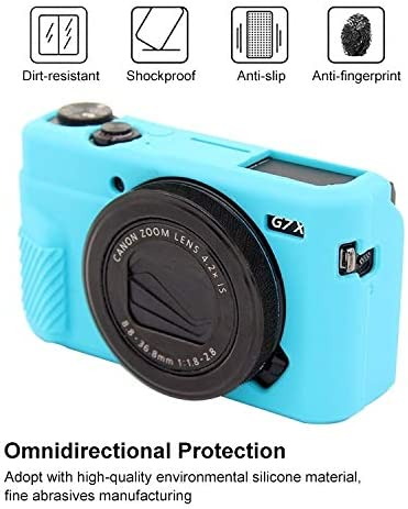 MEETBM ZIMO,Soft Silicone Protective Case for Canon EOS G7 X Mark II Color : Blue