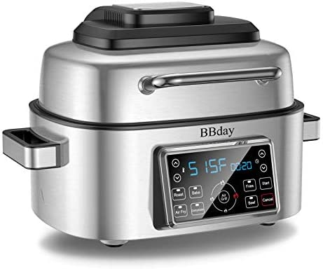 BBday 6.5 QT Air Fryer,10-in-1 Smokeless Indoor Electric Grill with Air Fryer,Roast,Bake and Dehydrate,1660-Watt with LED Digital Display,Stainless Steel