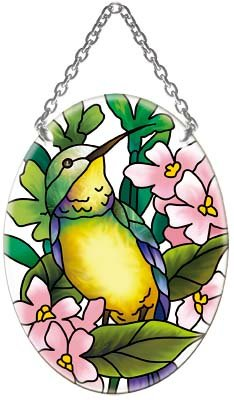 Hummingbird Floral Oval Stained Glass Suncatcher (Floral Stained Glass Suncatcher)