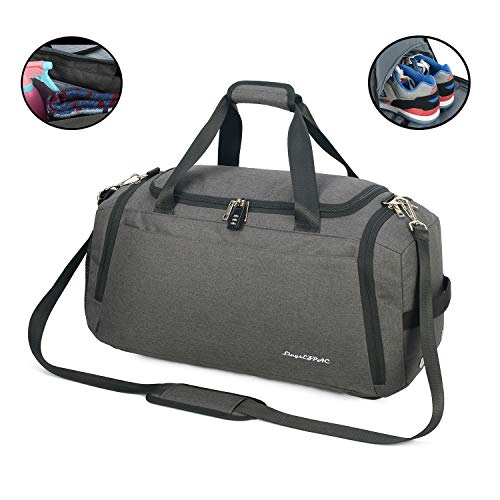 Sports Gym Bag with Wet Bag & Shoes Compartment/Travel Duffel/Diaper Bag/Backpack Strap/Double Shoulder/42L/Durable/Waterproof/with Combination Lock (Dark gray)