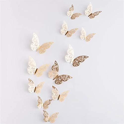 Bazahy 12Pcs 3D Double-Layer Butterfly Simulation Stereo Butterfly Hollow Wall Stickers Fridge Curtain Flower Shop Wedding Decorations Romantic Wall Stickers