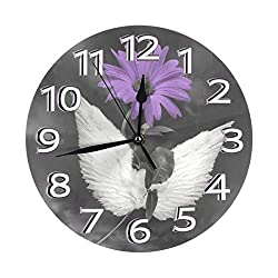 Yanghl Purple Daisy Flower Angel Wings Purple Gray Print Round Wall Clock Decorative, 9.8 Inch Silent Non Ticking Home Office School Decorative Clock Art