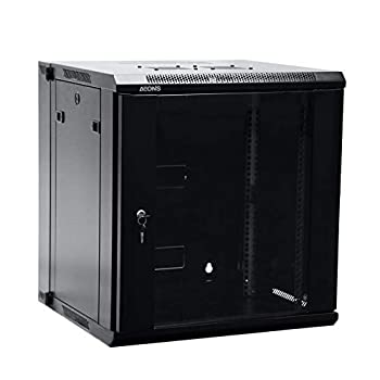 Image of AEONS Depot 12U Professional Wall Mount Server Cabinet Enclosure Double Section Hinged Swing Out 19-Inch Server Network Rack with Locking Glass Door Black (Fully Assembled)
