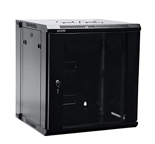 (AEONS Depot 12U Professional Wall Mount Server Cabinet Enclosure Double Section Hinged Swing Out 19-Inch Server Network Rack with Locking Glass Door Black (Fully Assembled))