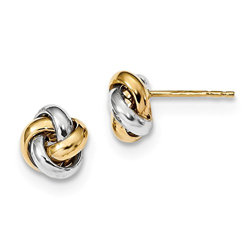 - 14k Two Tone Yellow Gold Love Knot Post Stud Earrings Ball Button Fine Jewelry Gifts For Women For Her