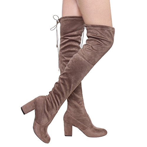 - Women's Thigh High Boots Stretchy Drawstring Over The Knee Chunky Block Stiletto Heel Boots Taupe 10