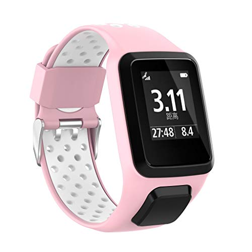 Cywulin Soft Silicone Band Compatible with Tomtom Runner 2 3 Spark 3 Golfer 2 Adventurer, Sport Replacement Wrist Strap Loop Bracelet Wristband GPS Smart Watch Accessories for Women Men (A)