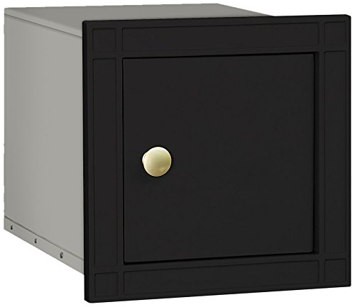 Mailbox Blk Wall (Salsbury Industries 4140P-BLK Cast Aluminum Column Non-Locking Plain Door Mailbox, Black)