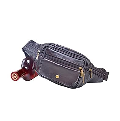 Father's Day Santwo Retro Genuine Leather Zipper Adjustable Casual Travel Waist Bag Pack for Men (Deep Brown)