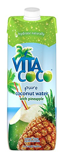 Vita Coco Coconut Water, Pineapple - Naturally Hydrating Electrolyte Drink - Smart Alternative to Coffee, Soda, and Sports Drinks - Gluten Free - 33.8 Ounce (Pack of 6)