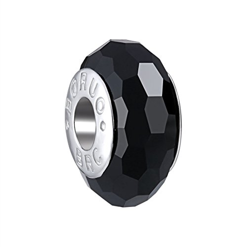 Boruo 925 Sterling Silver Czech Crystal Fascinating Facet Black Glass (Black Spacer)