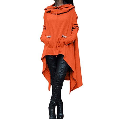 tunique capuche haute l'automne Chemise longue capuche shirt sweat basse robe ourlet manches Orange longues Femmes asymtriques QHDZ femme xOqd8wY8