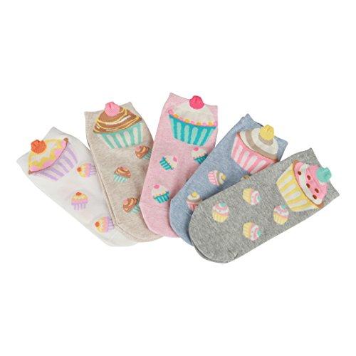 FloraKoh Women Cotton Low Cut No Show Animal Fun Ankle Socks (Cupcake socks)