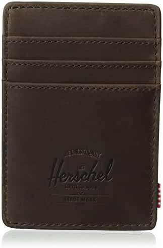 Herschel Supply Co. Men's Raven Leather Card Holder Wallet With Money Clip