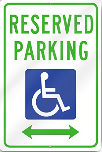 Reserved Parking Handicap With Double Arrow Metal Sign 12