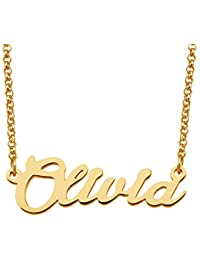 Gold Plated Personalized Name Custom Script Letter Necklace