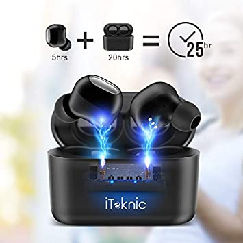 iTeknic Bluetooth 5.0 Headphones, True Wireless Earbuds Deep Bass HiFi Sound, IPX8 Waterproof TWS Stereo Sports Earbuds, in-Ear Binaural Call Headphones with Charging Case, Built in Mic