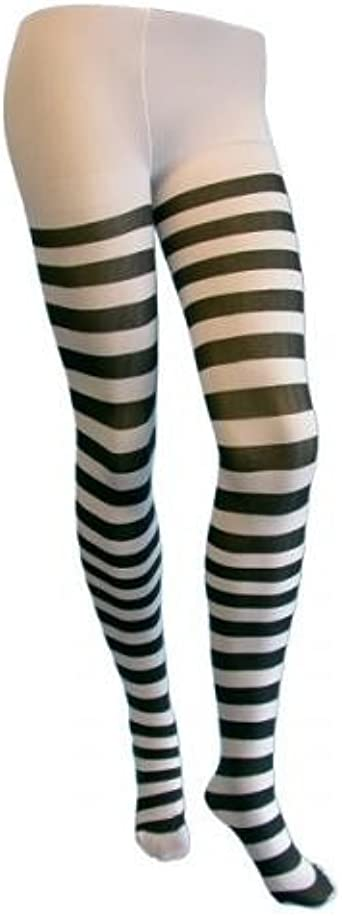 Black /& White Striped Tights Ladies Fancy Dress Spooky Adults Costume Accessory