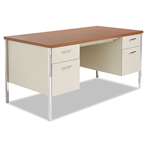 Alera Double Pedestal Steel Desk, 60w x 30d x 29-1/2h, Walnut