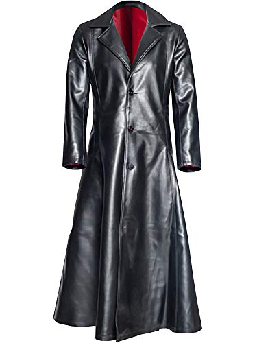 Ashuai Men's Leather Long Trench Coat The Matrix Neo Long Jacket Coat(M,Black)
