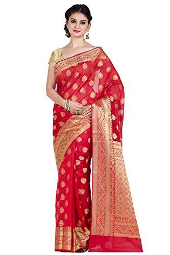 (Chandrakala Women's Red Cotton Silk Blend Banarasi Saree,Free Size(8882))