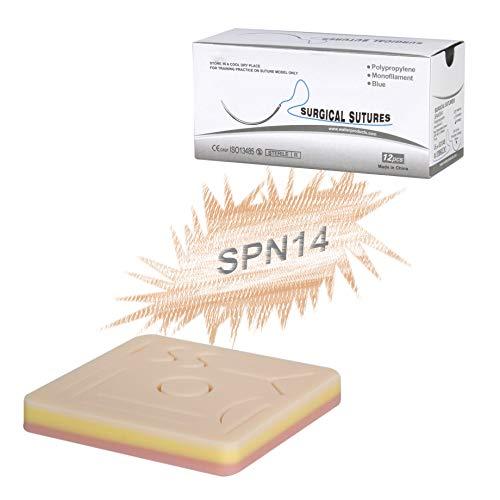 [해외]Vision Scientific VSPN14 4\u201d X 4\u201d Suture Pad W 11 Pre-Cut Wounds| 12 Silk Thread 75cm W Stainless Needle | 3 Layers Tissue | Mesh Layer for Durability & Reusable W Manual / Vision Scientific VSPN14 4 X 4 Suture Pad W 11 Pre-Cut Wo...