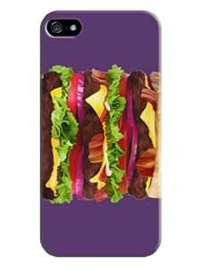 Sangu Huge Hamburg Hard Back Shell Case / Cover for Iphone 5 and 5s - Purple