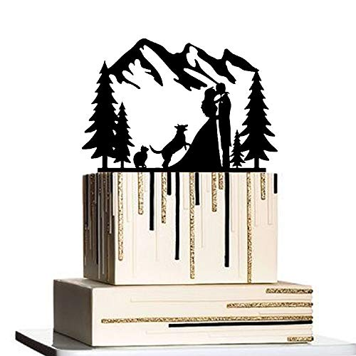 Anniversary Cake Topper, Outdoor Wedding Cake Topper Mountain with Dog and Cat, Cake Topper Tree, Bride and Groom Silhouette Cake Topper Outdoor Wedding Theme