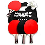 Keser Sports Ping Pong Paddle Set - 4 Pack Premium Table Tennis 5-Star Racket Kit with 8 Pro Game Balls, Carrying case with compartments - Superior Bat Control, Comfortable Paddles, Unbeatable Spin