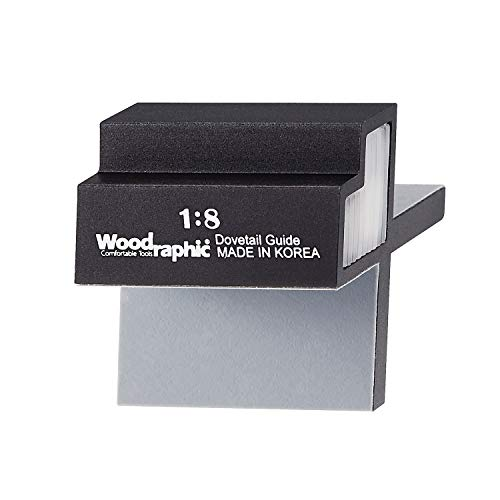 Woodraphic All New Dovetail Jig Marker Hand Magnetic Saw Guide Marking Cut Wood Joints Gauge - Aluminium/Uhmwpe/Neodymium Magnet/Slicone Skin - (1:8 for Hard Wood) ()