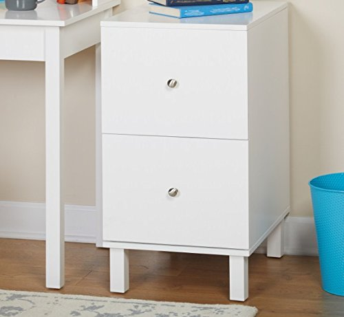 ssemble Square Legs 2-Drawer Foster Filing Storage Cabinet in White Finish (2 Drawer Mdf File Cabinet)