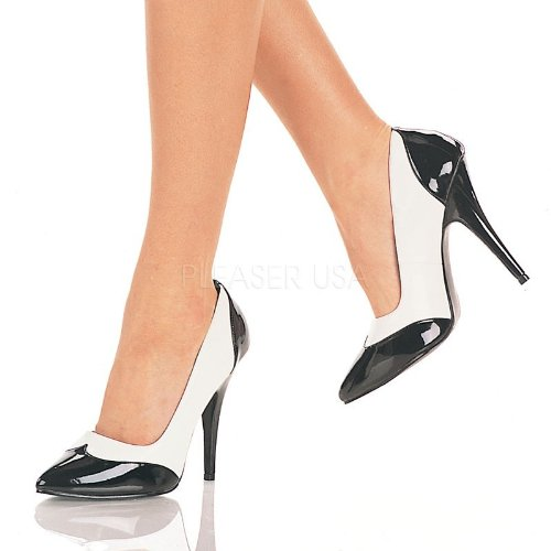 Pleaser - Zapatos de vestir para mujer Schwarz/Weiss