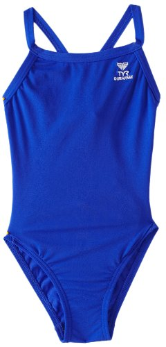 TYR Sport Girls' Solid Durafast Diamondback Swim Suit (Royal, - Material Swimsuit Pbt