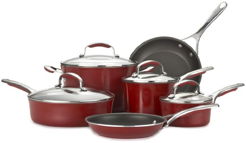 KitchenAid Gourmet Aluminum Nonstick 10-Piece Cookware Set, Red