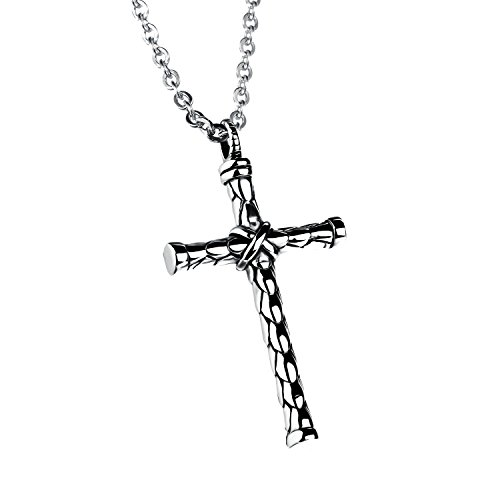 Stainless Steel Necklace Chain Cylinder Cross Pendant Necklace Charms for Men Women By Herinos