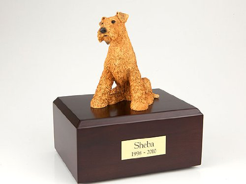 Pet Cremation Urn - Airedale Terrier, Sitting Figurine On Traditional, Large-Sized, Oak Wood Urn. (See Color Swatch for Actual Wood ()