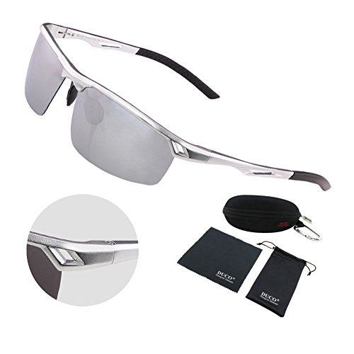 Duco Men's Sports Style Polarized Sunglasses Driver Glasses Metal Frame 8550 (Silver Frame Mirror - Ltd I Sunglasses