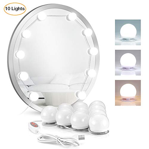 2019 Upgraded Led Vanity Mirror Lights, LANGSTAR Makeup Lights Strip Kit with 10 Hollywood Style Bulbs for Vanity Table, 8 Color Tones 6 Level Brightness