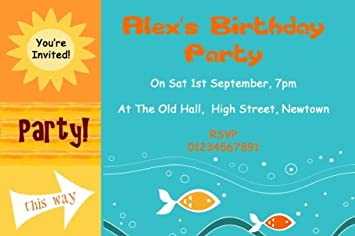 10 X Personalised Sunny Beach Swimming Pool Theme Birthday Party Invitations Amazoncouk Office Products