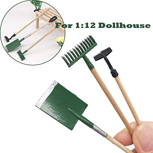 (Gbell Miniature Garden Tools Shovel Rake Spade for 1:12 Mini Dollhouse Garden, Mini Dollhouse Green Plant Garden Decor Miniatures Accessory Pretend Play Toy for Little Girls Gifts)