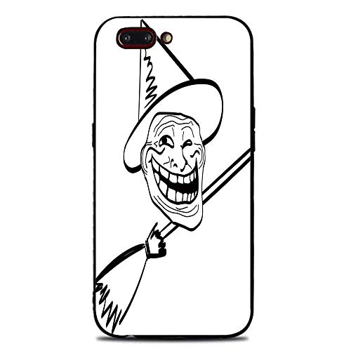 Phone Case Compatible with iphone7 Plus iphone8 Plus BrandNew Tempered Glass Backplane,Humor Decor,Halloween Spirit Themed Witch Guy Meme LOL Joy Spooky Avatar Artful Image,Black White,Anti-Shock -