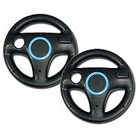 2pcs Black Mario Kart Steering Wheel for Nintendo Wii